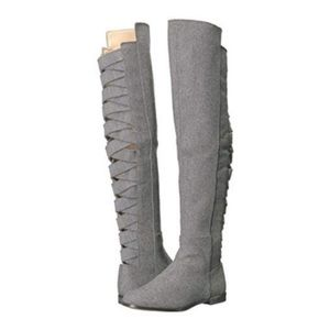 Nine West above the knee grey suede/wool boots